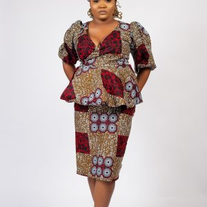 Kemi Wrap Top Ankara Set - Top And Skirt