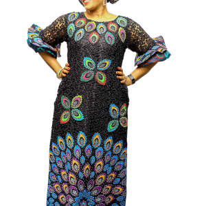 Ugomma Cord lace dress with Matching Head Tie &Inner (Black)