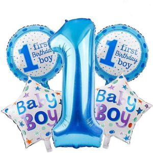 Set Of 5 PCS First Birthday Celebration Balloons - Boy And Girl