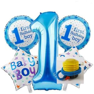 Set Of 5 PCS First Birthday Celebration Balloons WITH PUMP - Boy And Girl