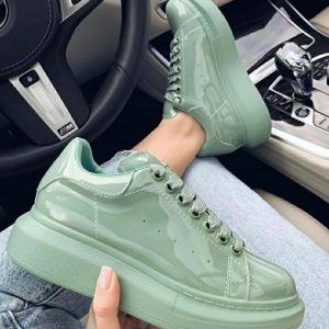 GLOSSY UNIQUE LACED SNEAKERS
