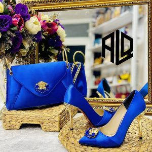 CLASSIC LADIES BLUE SHOE AND PURSE