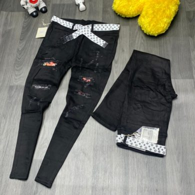 Men's Ripped Hole Embroidered Jeans Denim Trousers