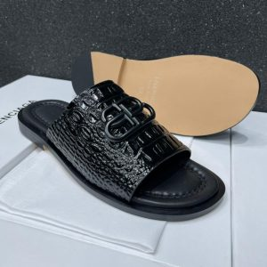 BLACK LEATHER PALM SLIPPERS