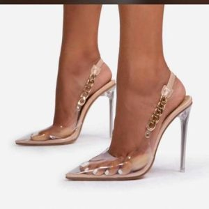 Ladies Transparent Glass Heel Sandals