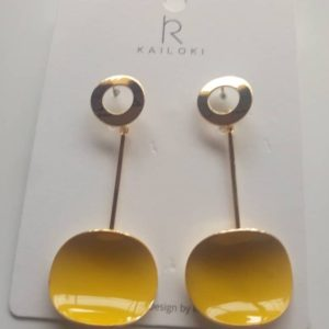 Round gold and yellow earrings