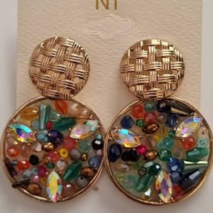 Double round gold earrings
