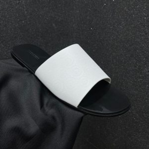 PLAIN WHITE LEATHER PALM SLIPPERS