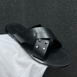MEN CRISS CROSS LEATHER PALM SLIPPERS