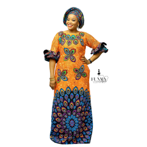 Ugomma Cord lace dress with Matching Head Tie &Inner Orange