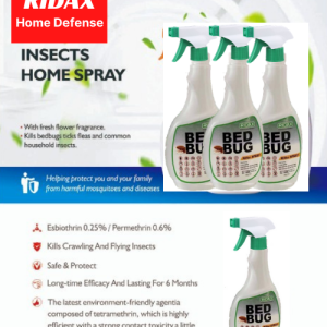 RIDAX HOME DEFENCE BED BUG INSECTS HOME SPRAY - FREE COCKROACH TERMINATOR