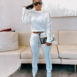 Two Piece Tracksuits for Women Crop Top + Pants Long Sleeve