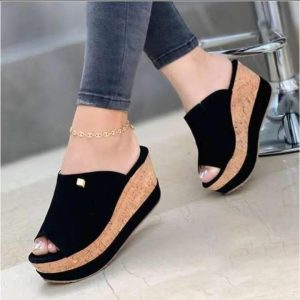 Women Fashion Classy Wedge Slippers Open Toe Dress Party Daily Shoes