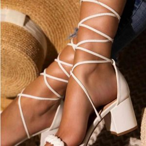 Ladies Mid-Heel Lace Up Strappy Open Toe Gladiator Sandals