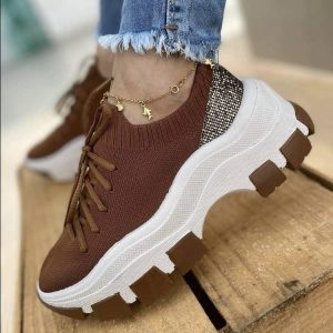 Ladies Sneakers Shoes With Breathable Mesh Sock Shoes Thick Bottom