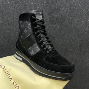 LV HighTop Ankle Fashion Leather Suede Boot Sneakers For Men