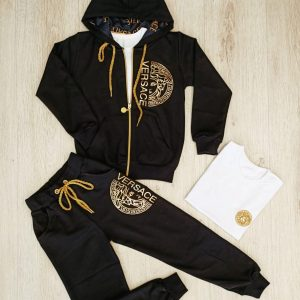 Versace 3pcs Zip down Hoodie Jacket And Joggers Set For Kids