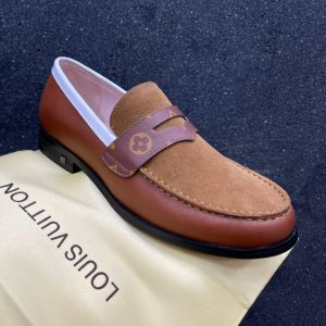 LOUIS VUITTON ITALIAN BROWN LEATHER LOAFERS FOR MEN