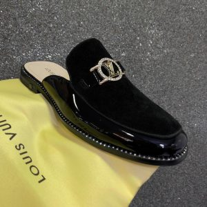 Men's LV Fashion Formal Casual Suede/Leather Half Shoe