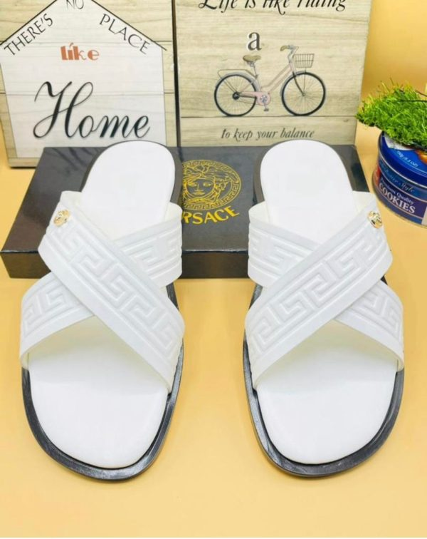 MEN'S DESIGNERS ITALY WHITE LEATHER PALM SLIPPERS