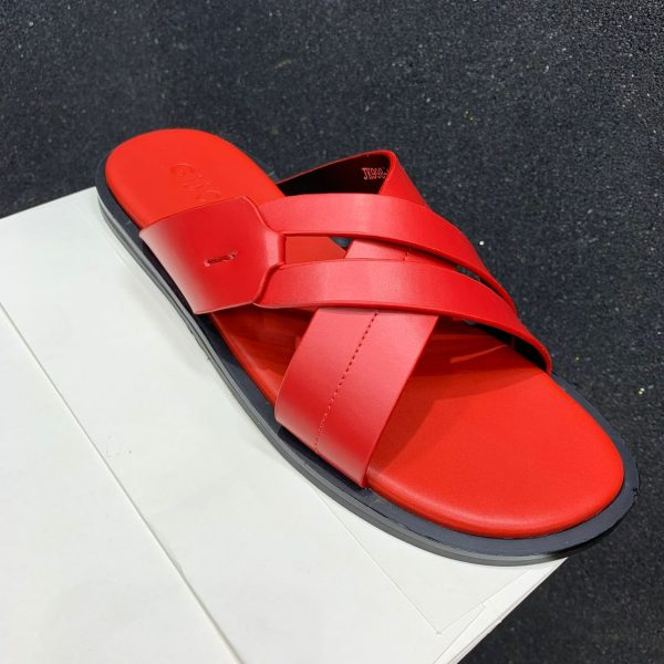 2021 Designer Pure Leather Criss Cross Palm Slippers